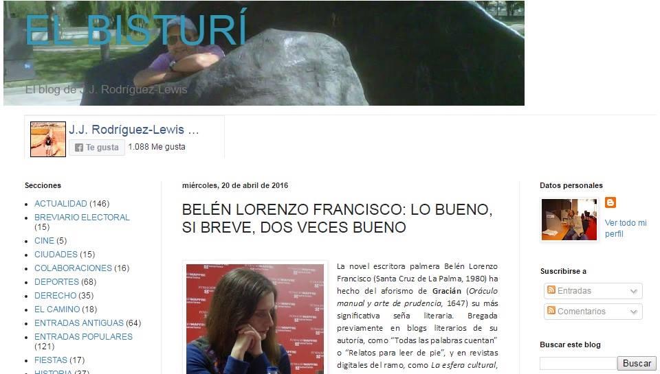 Blog personal de J. J. Rodríguez-Lewis. http://jjrodriguez-lewis.blogspot.com.es/2016/04/belen-lorenzo-francisco-lo-bueno-si.html