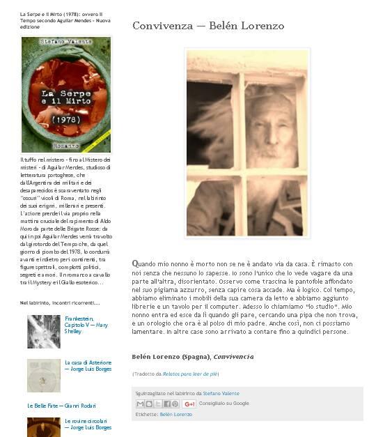 Contando en italiano, gracias a las palabras de Stefano Valente publicadas en Il Sogno del Minotauro: http://sognodelminotauro.blogspot.pt/2013/06/convivenza-belen-lorenzo.html